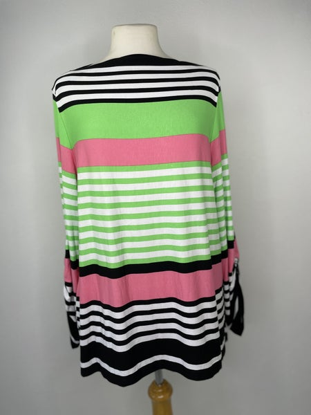 L Ruby Rd. Pink, Green, & Black Striped Top