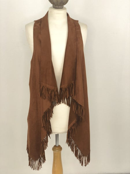M Etheread Brown Fringe Vest