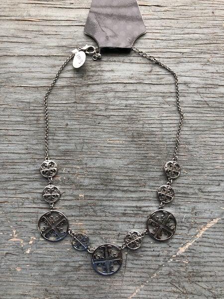 Silver Tone Cross Medallion Necklace