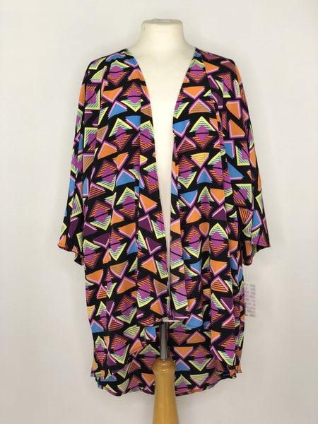 L LulaRoe Black/Purple/Orange Retro Triangle Kimono