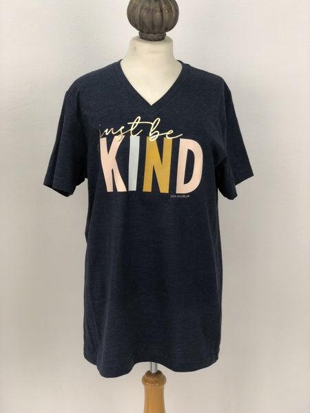 "Pink Armadillos ""Just Be Kind"" Blue V-Neck Tee"