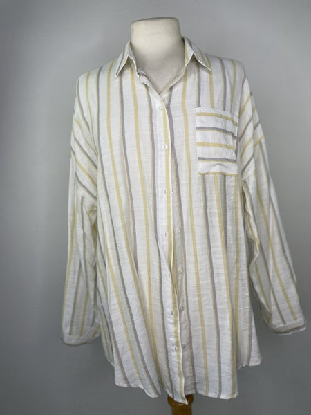 L Love Notes Gray & Yellow Striped Top