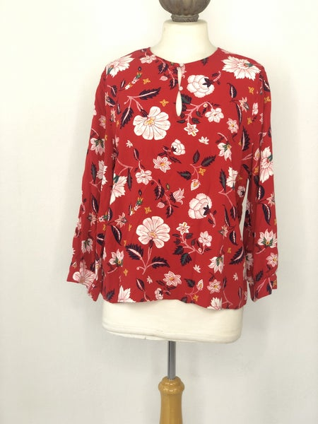 XL Old Navy Red Floral Blouse