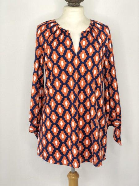 S Mudpie Orange/Blue/White Geometric Print Top