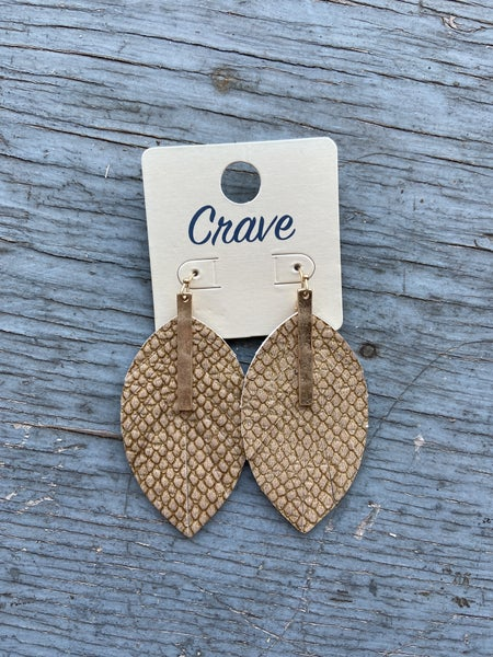 Leather Feather Cut Earring