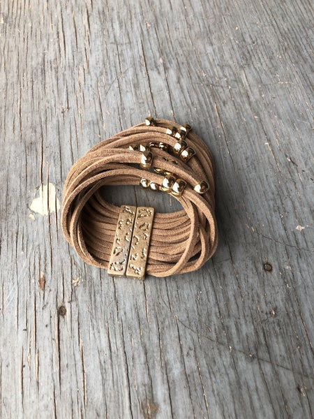 Gold Tone Magnetic Suede Multistrand Bead Bracelet *As is* Sign of Wear