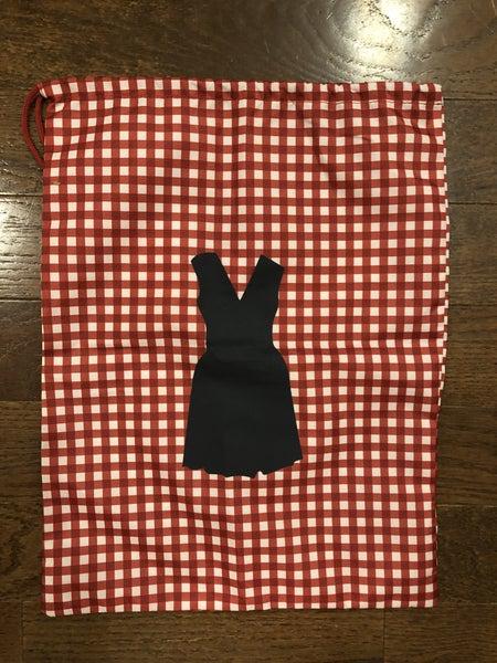 Red Gingham Drawstring Dress Bag