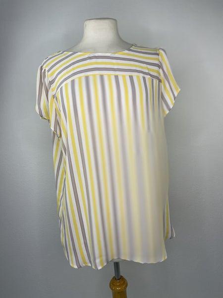 M LOFT Yellow & Gray Striped Top