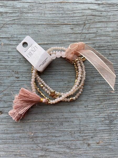Rose and Gold Tassel Bracelet Set
