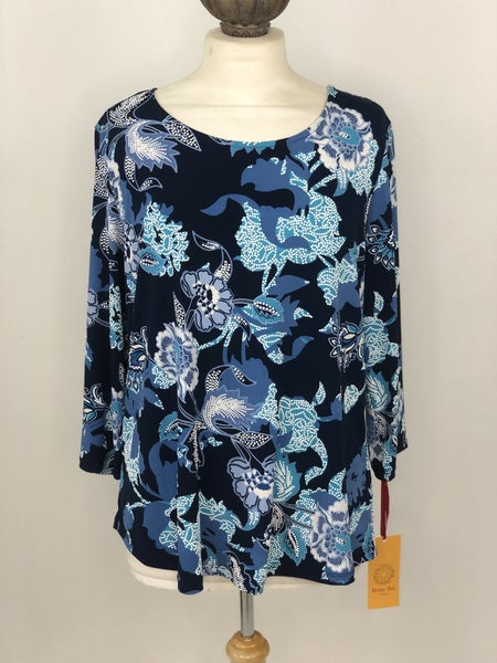 L Ruby Rd. Blue Floral Top