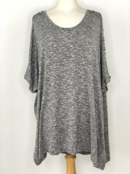 26/28 Lane Bryant Charcoal Knit w/ Studded Shoulder Top