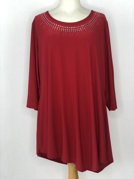 2X Belladini Red Studded Neck Top