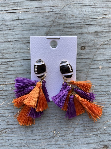 Gameday Football Tassel Earrings
