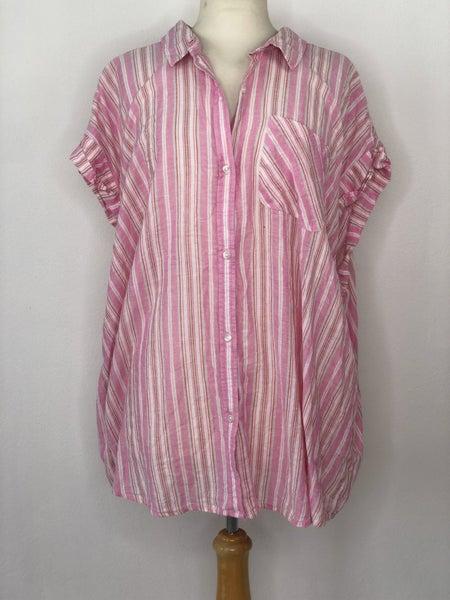 3X True Craft Pink/Orange Stripe Top