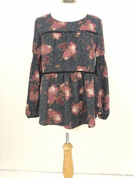 XS Knox Rose Navy/Mauve Floral Blouse