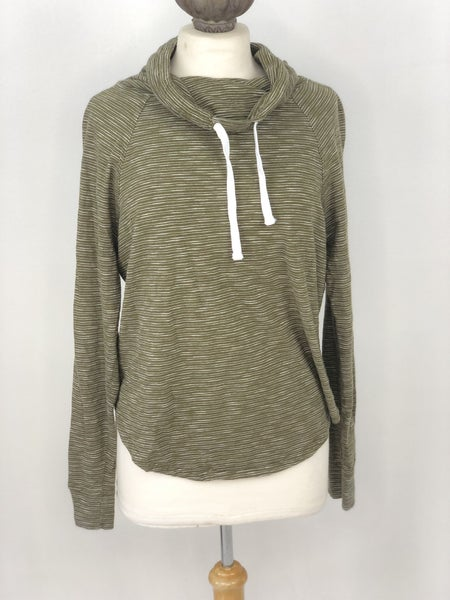 M Aeropostale Green Stripe Cowl Neck Top