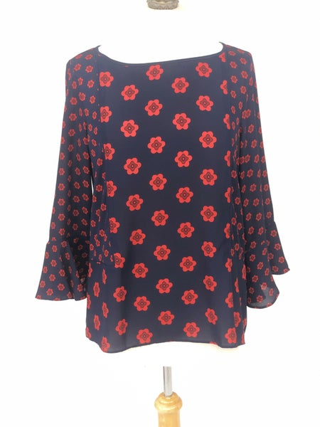 XS LOFT Navy/Red Floral Blouse