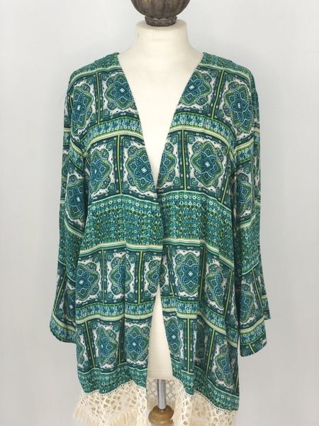 L/XL Copper Kep Blue/Green Cardigan