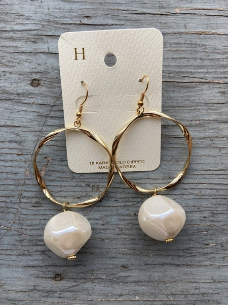 Dangly Hoop with Pearl Charm Earring