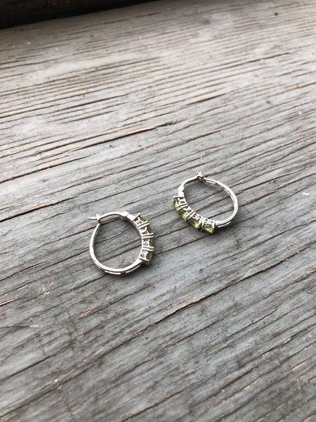 Sterling Silver & Peridot Stone Hoop Earrings