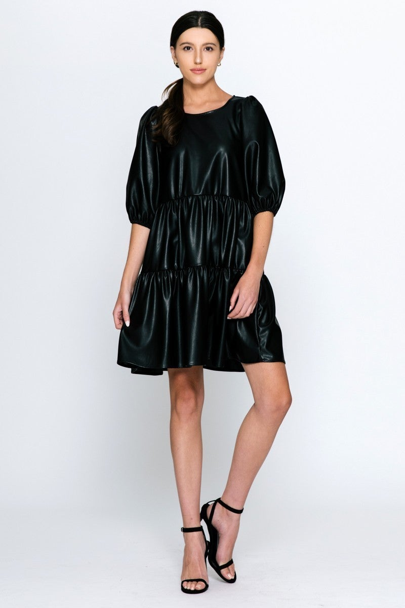 Becker Vegan Leather Dress in Black