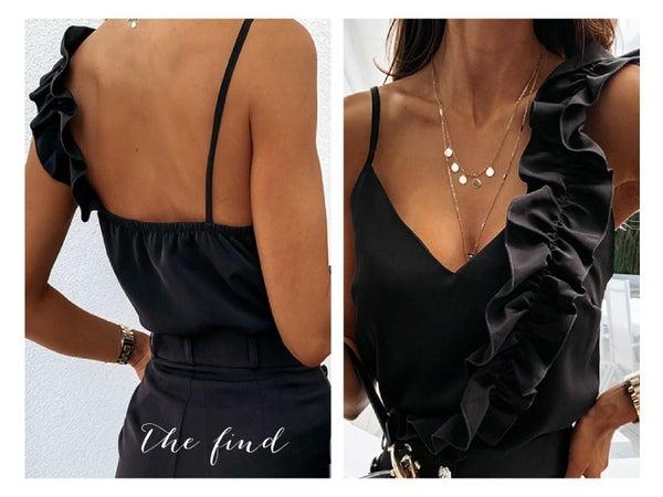 Sloane Ruffle Top in Black