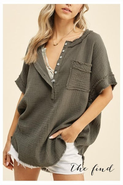 Carter Top in Olive
