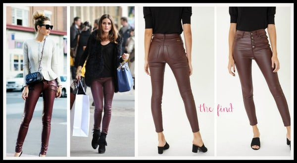 McCarthy Leather Jeans in Burgundy