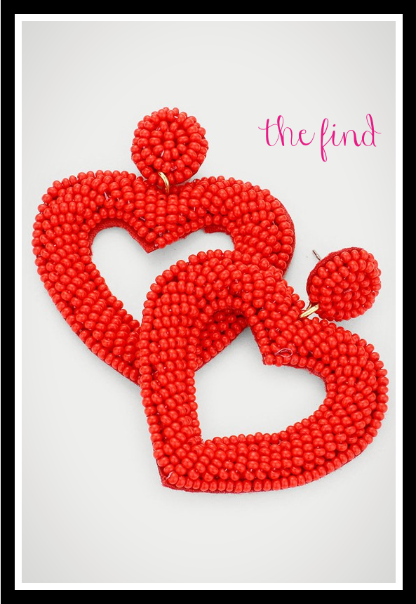 Ava Heart Earrings in Red