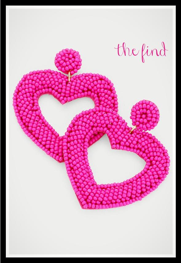 Ava Heart Earrings in Fuchsia