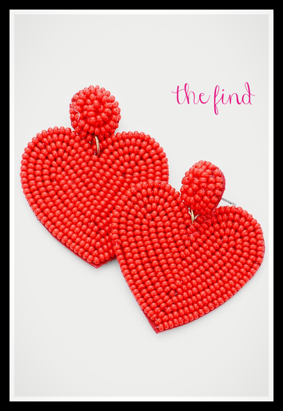 Milly Heart Earrings in Red