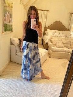 Greer Maxi Skirt in Navy Tye Dye