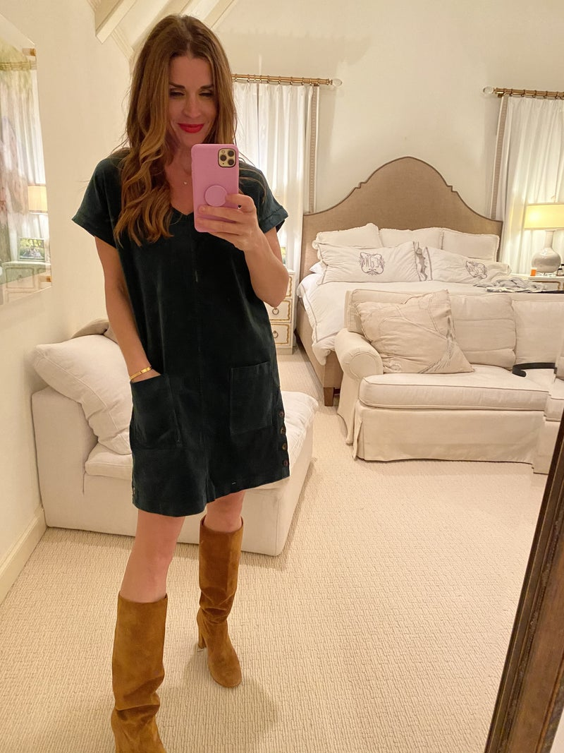 Austin Corduroy Dress in Emerald