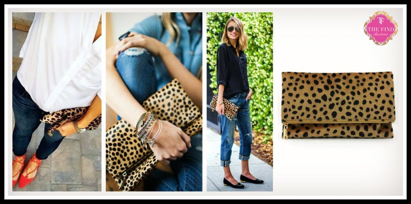 Leopard Foldover Clutch