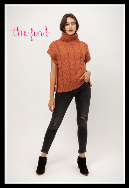 Ava Cable Knit Top in Rust