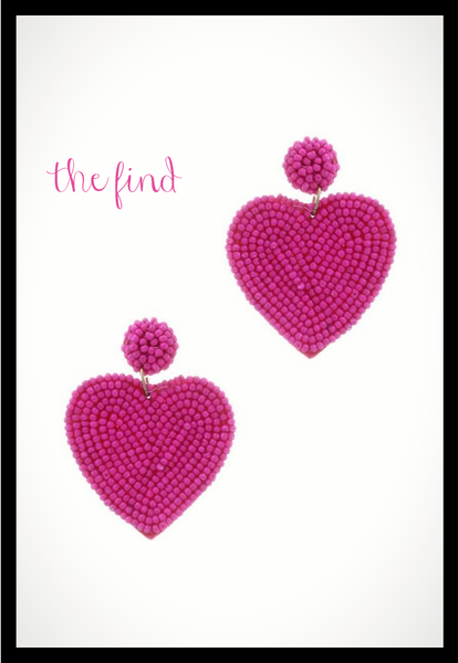 Milly Heart Earrings in Fuchsia