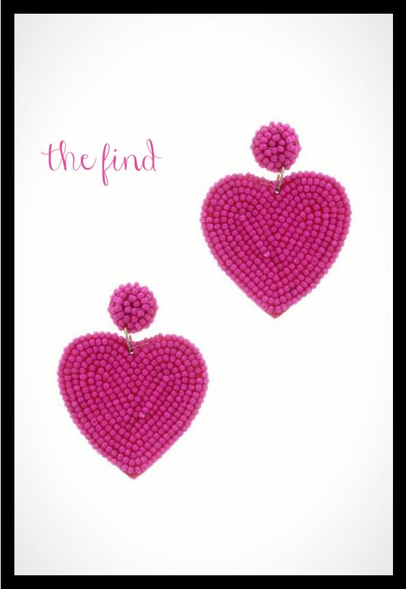 Milly Heart Earrings in Fuchsia
