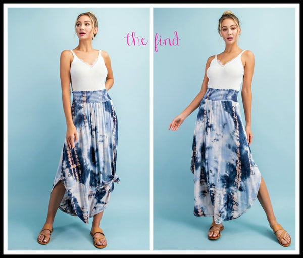 Greer Maxi Skirt in Navy Tye Dye *Final Sale*