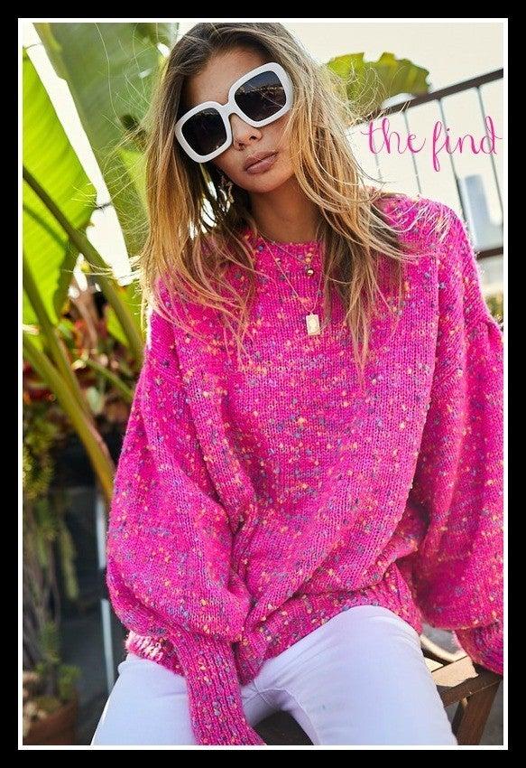 Devon Confetti Sweater in Fuchsia