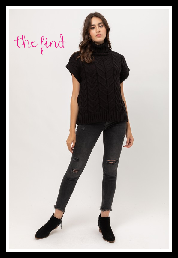 Ava Cable Knit Top in Black