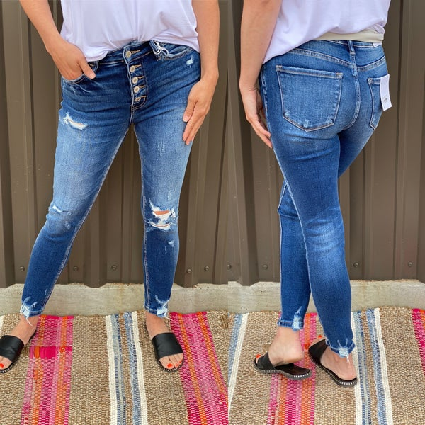 """Vervet Haylie """"Tularosa"""" Distresed Button Fly Jeans"""