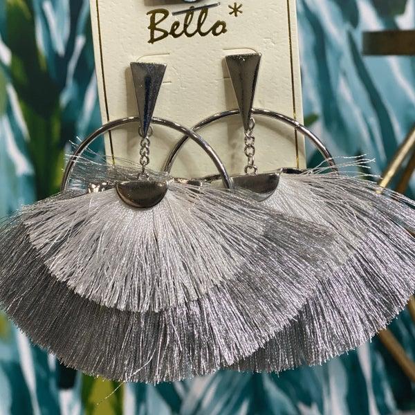 Boho Silver Fanned Earrings