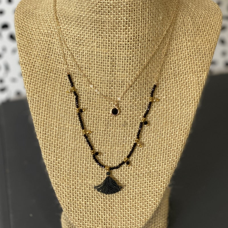 Double Black Glass Bead Necklace