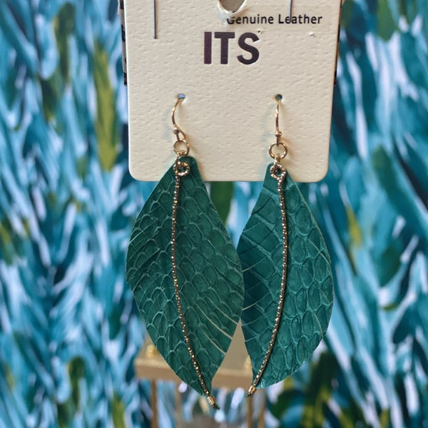 ITS Hunter Green Snake Leaf Earrings with Beads