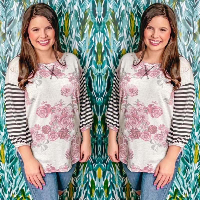 Reg/Plus LJ Heather Gray/Floral Top with Striped Half Sleeves *Final Sale*