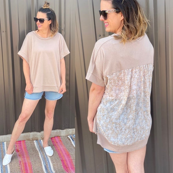 White Birch Tan Top with Floral Back *Final Sale*
