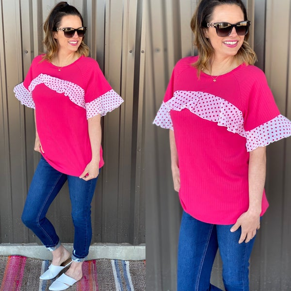 RJ Fuchsia Ribbed Top with Dotted Sleeves *Final Sale*