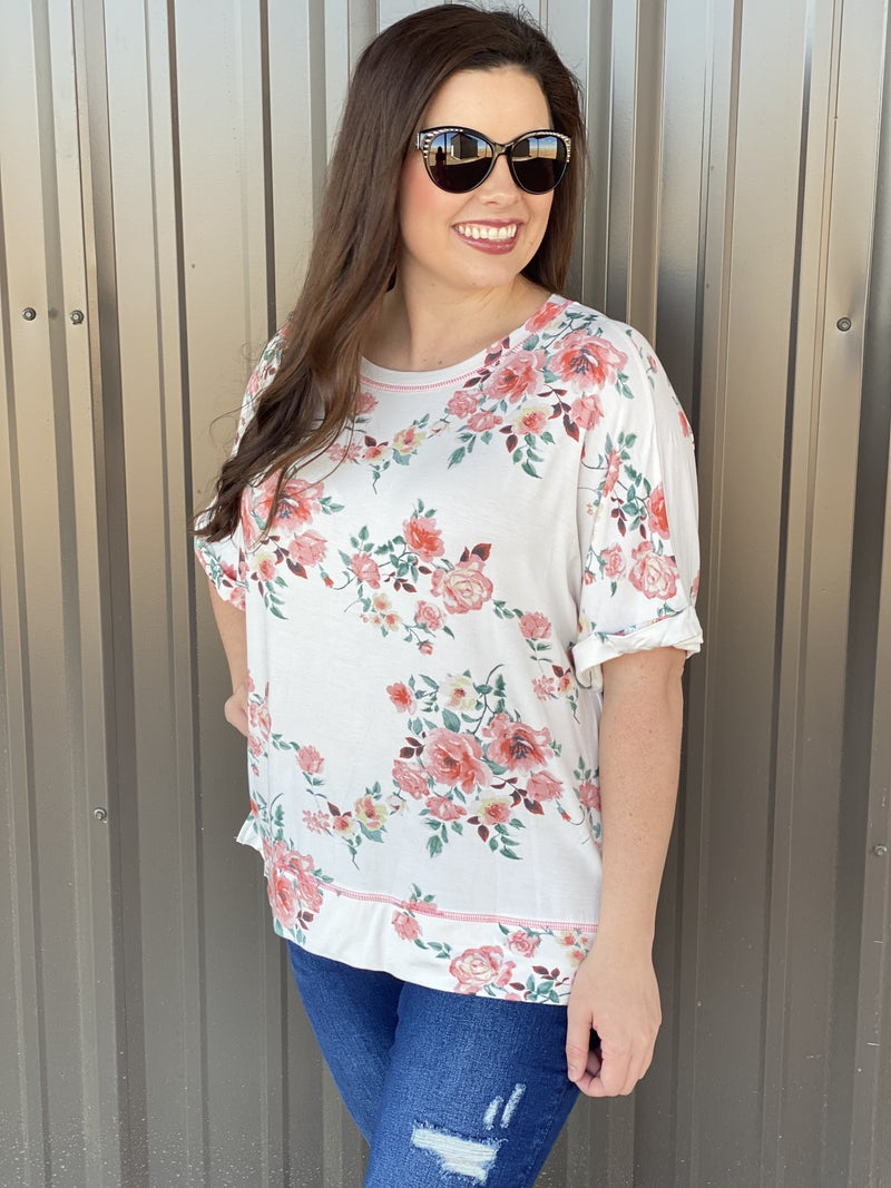 Honey Me Ivory/Pink Floral Oversized Top with Side Slits *Final Sale*