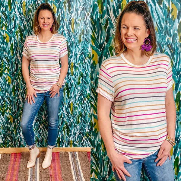 RJ Ivory Striped Top