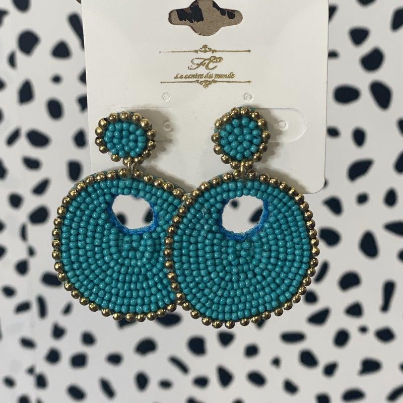 Superb & Simple Seed Bead Earrings Teal